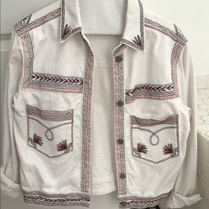 Embroidered Denim Jacket, White
